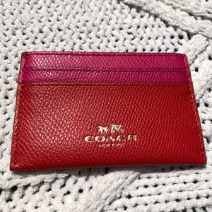 Red and Pink Leather Authentic Coach Card Holder